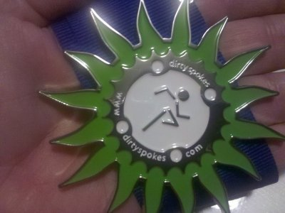 2nd place medal in Dirty Spokes Trail Run at Unicoi State Park, Helen GA. The start of a new tradition!